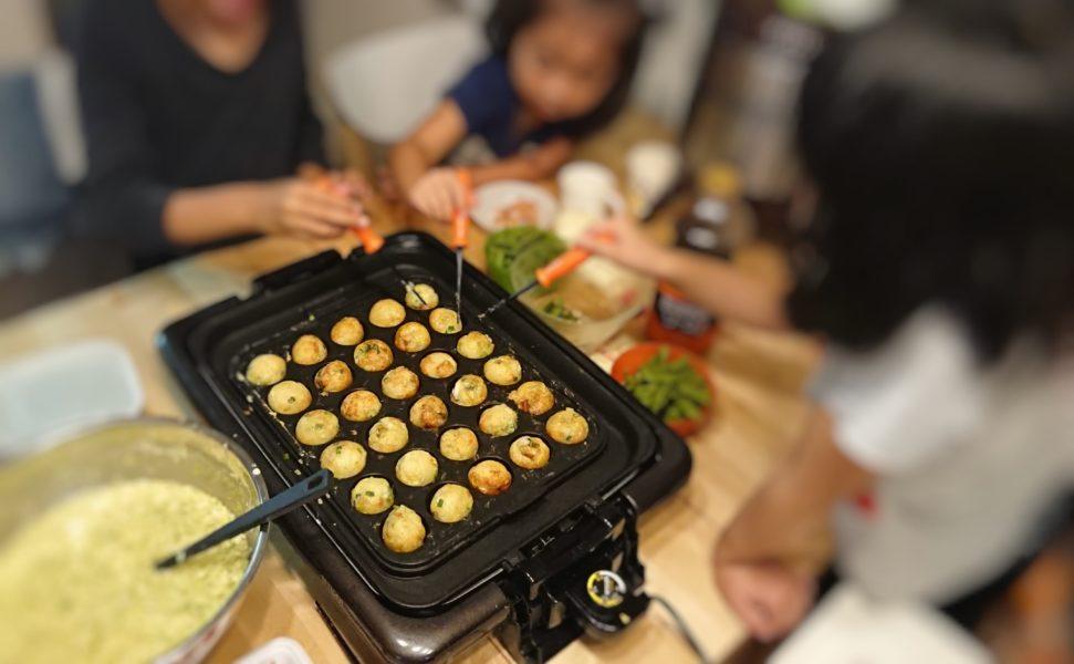 子供とホットプレートでたこ焼き作り